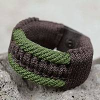 Men's wristband bracelet, 'Colors of Bravery' - Men's Bracelet Macrame on Leather