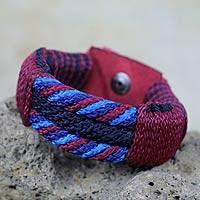 Men's wristband bracelet, 'Wine Abankaba' - Artisan Crafted Recycled Bracelet for Men
