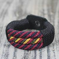 Men's wristband bracelet, 'Black Abankaba' - Artisan Crafted Recycled Bracelet for Men