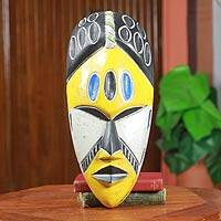 African mask, 'Gold Coast' - Yellow and Black Handcrafted African Mask