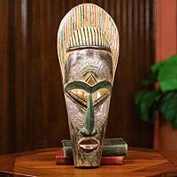 African Mask, 'Tribal Queen' - Ghanaian Handmade African Mask