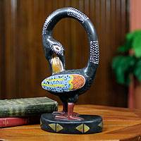 Wood sculpture, 'My Lovely Bird' - Adinkra Symbol Bird Wood Sculpture with Glass Beads