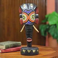 Wood sculpture, 'Elephant Kingdom' - Beads on Wood African Sculpture