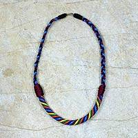 Braided necklace, 'Multicolor Ashanti Muse' - Artisan Crafted Braided Necklace African Jewelry