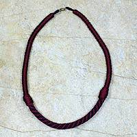 Braided necklace, 'Ashanti Muse in Wine' - Artisan Crafted Braided Necklace African Jewelry