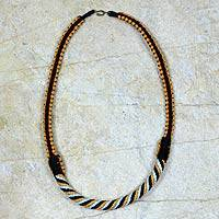 Braided necklace, 'Ashanti Muse in Golden Navy'