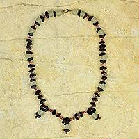 Recycled glass beaded necklace, 'Lady' - Recycled Necklace