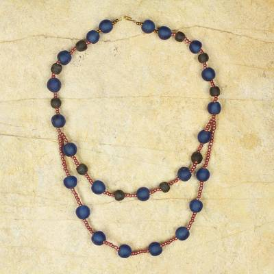 Recycled glass beaded necklace, Royalty