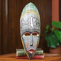 African beaded wood mask, 'Giwa' - African Elephant Mask Original Design