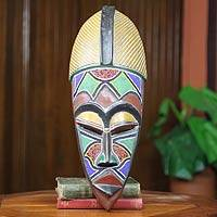 African beaded wood mask, 'Ahoufe Dua' - African Epitome of Beauty Beaded Mask