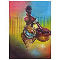 'Heading Home' - Portrai of African Woman Signed Fine Art Painting