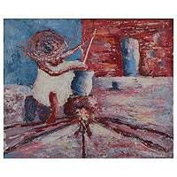 'Taste from the Pot' - African Original Painting Signed Fine Art