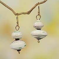 Recycled paper dangle earrings, 'Morning Glory' - Recycled Paper Handmade Earrings