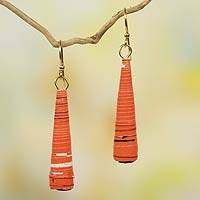 Recycled paper dangle earrings, 'Heartfelt Laughter' - Orange Paper Recycled Earrings