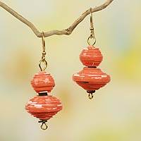Recycled paper dangle earrings, 'Taifa Tangerine' - Orange Handmade Earrings with Recycled Paper