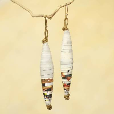Recycled paper dangle earrings, 'Festival' - Eco-Earrings from Ghana