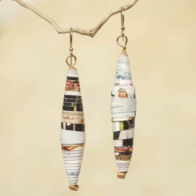 Recycled paper dangle earrings, Colored Pencil