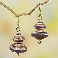 Recycled paper dangle earrings, 'Spin the Top' - Multicolor African Eco Earrings