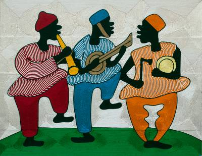 Threadwork art, 'Happy Times' - Ghanaian Musicians Threadwork Wall Art