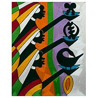 Threadwork art, 'Adinkra Symbols I' - Fair Trade Cotton Threadwork Wall Panel with Women Bearing A
