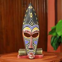 African mask, 'Royal Hat' - Beaded Hand Carved Authentic African Mask