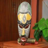 African wood mask, 'Obla Nuu' - Hand-Carved Ghanaian Sese Wood Mask