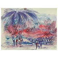 'Beach Market III' - Ghanaian Beach Scene Watercolor