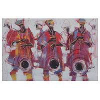 'Horn Blowers III' - Red and Purple Painting of Musicians