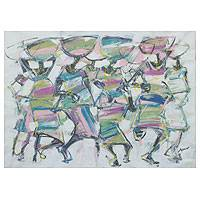 'Calabash Ladies' - Modern African Painting Signed Fine Art