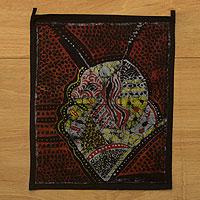 Batik wall hanging, 'Desire for a Child' - Abstract Batik Wall Hanging