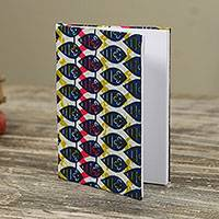 Cotton journal, 'Dancing Leaves' - Hand Crafted Journal with Cotton Cover and 60 Blank Pages