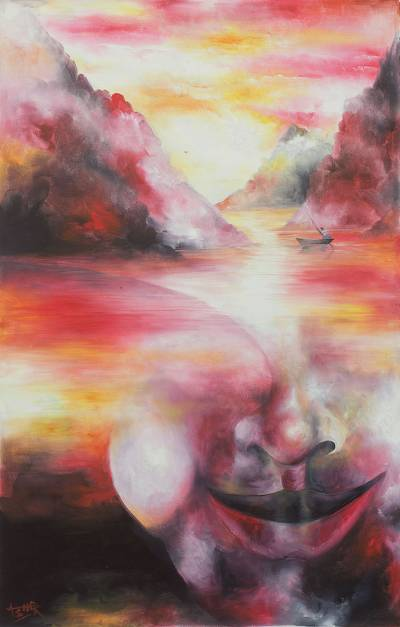 'Journey' (2013) - Surrealist Ghanaian Painting Signed Fine Arts