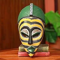 African mask, 'Yellow Zebra' - Yellow Zebra African Mask