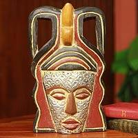 African mask, 'Akan Mother' - Multicolor Rustic African Mask