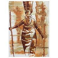 'African Queen' - Original Expressionistic Woman's Portrait Painting