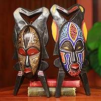 African masks, 'God's Gift of Twins' (pair) - Authentic African Masks (Pair)