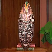 African wood mask, 'Peace to the World' - Fair Trade Original Design African Wood Mask from Ghana