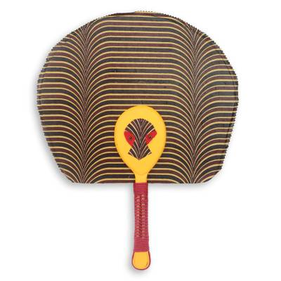 African Fan with Mask Artisan Crafted in Cotton and Wood