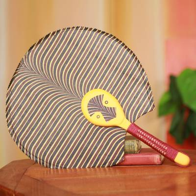 Cotton fan, 'Obaahemaa II' - Hand Crafted African Ashanti Fan with Cotton and Wood