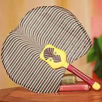 Cotton fan, 'Yellow Bobo Mask' - African Fan with Mask Artisan Crafted in Cotton and Wood