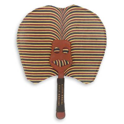 African Artisan Crafted Mask Fan with Cotton and Wood