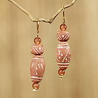 Terracotta dangle earrings, 'Light of Africa' - African Handmade Eco Friendly Terracotta Earrings