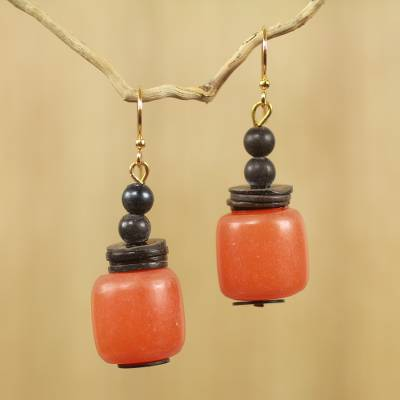 Coconut shell dangle earrings, 'God's Gift' - Coconut Shell and Recycled Plastic Eco Earrings from Africa