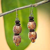 Wood dangle earrings, 'Peace' - African Handmade Eco Friendly Wood Bead Earrings