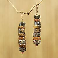 Soapstone beaded earrings, 'Aseda Ye' - Hand Crafted Natural Soapstone Beaded Hook Earrings