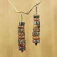 Soapstone beaded earrings, 'Aseda Ye'