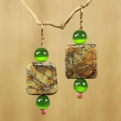 Soapstone beaded earrings, 'Ayeyi Nka Boafo' - Artisan Crafted Soapstone and Cat's Eye Beaded Earrings