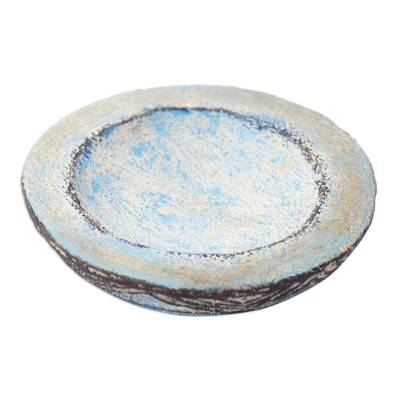 Hand Crafted Aged Ceramic Catchall For Decorative Use Only