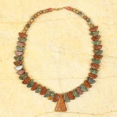Soapstone beaded necklace, 'Asomdwe' - Artisan Crafted Brown and Grey Soapstone Necklace from Ghana