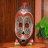 African wood mask, 'Dan Warrior' - Handmade African Tribal Wood Warrior Mask from Ghana